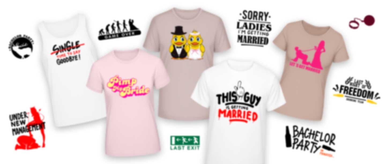T-shirts avec différents motifs pour EVG et EVJF