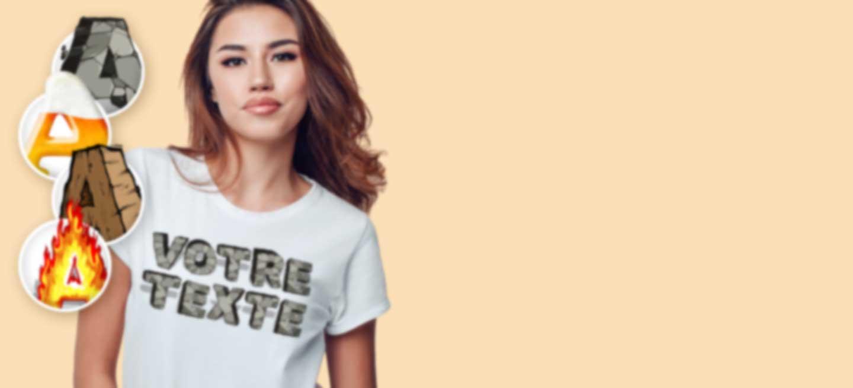 Jeune femme en T-shirt blanc avec un texte en 3D