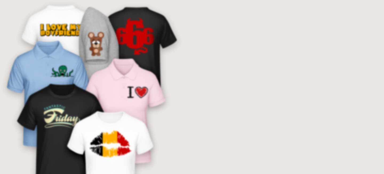 T-shirts imprimés en différentes couleurs avec des motifs originaux