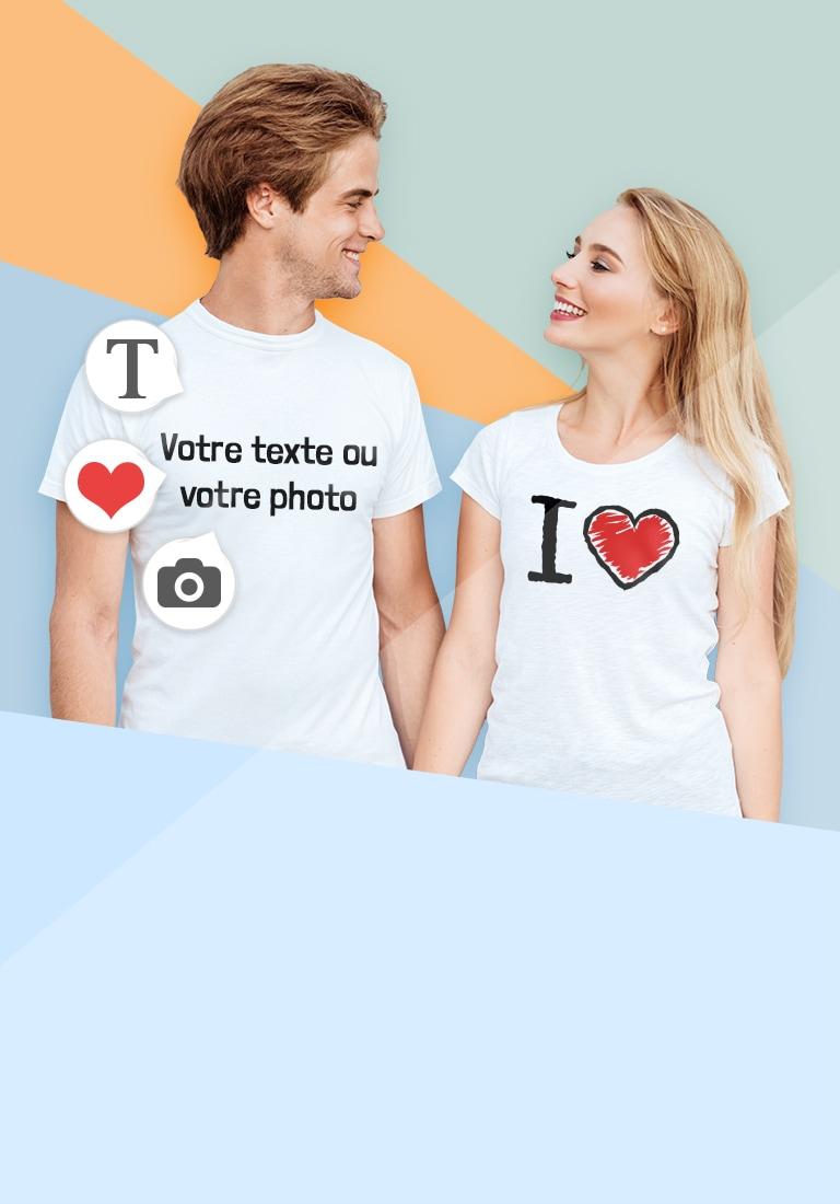 Jeune couple en T-shirt avec leur propre dessin