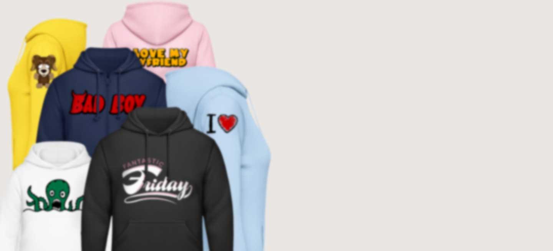 Hoodies in verschillende kleuren bedrukt met coole illustraties