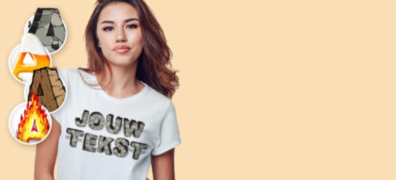 Jonge vrouw in wit T-shirt met 3D-tekst